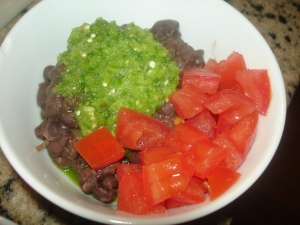 Black Beans with Tomatillo and Green Pepper Sauce