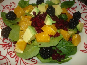 Citrus Salad with Blackberries, Beet and Avocado