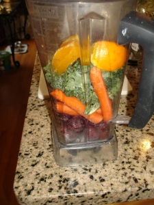 cherry carrot orange kale smoothie