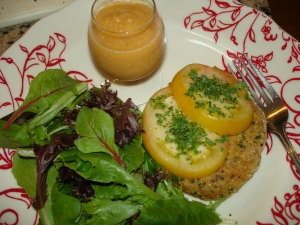 Quinoa Burgers with Greens and Chilled Curried Peach Soup