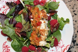Coconut crusted tofu with apricot salsa