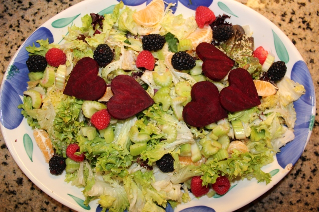 Simple Salad for 4 with Beet Hearts and berries