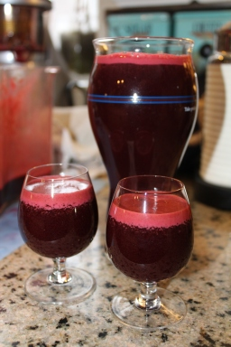 Juice shots for my boys and the pint glass for me!